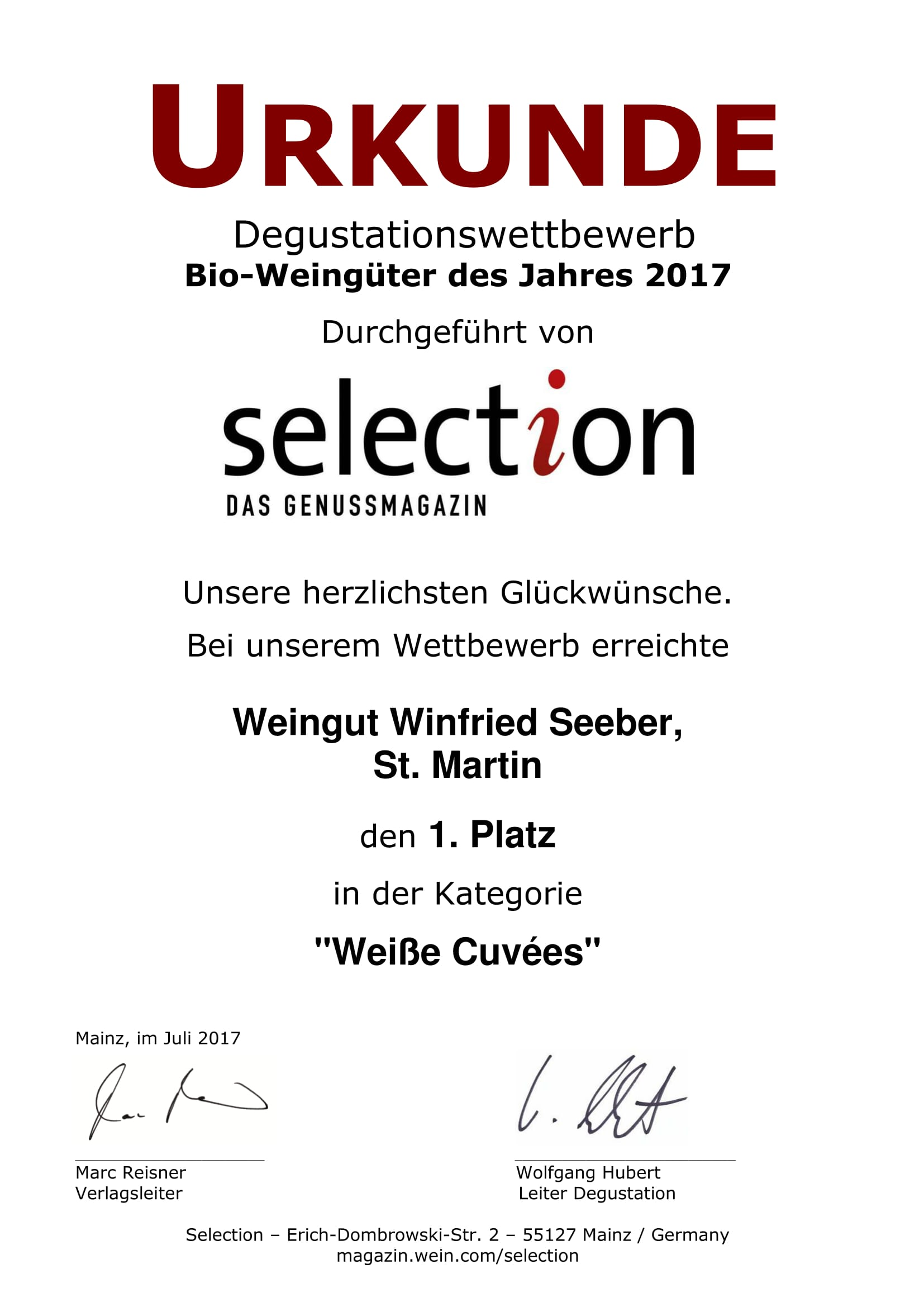 Urkunde selection 2017